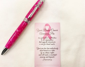 Breast Cancer Awareness Chrome Ribbon Clip with Pink Swarovski Crystals on a Pink Crush Acrylic Handcrafted Twist Pen