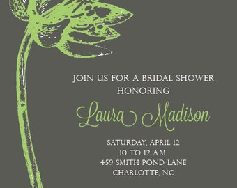 Gray Flower Invitation