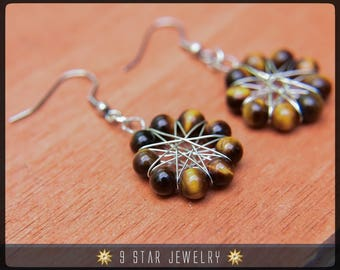 Tiger's Eye Radiant Star Earrings - Baha'i 9 Star Gemstone Crystal Wire-wrapped Dangle Earrings - BRSE30
