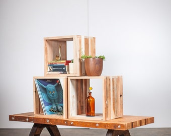 Storage and display  cubes, reclaimed wood.