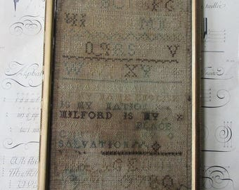 19th Century Original Antique Sampler Made By A Child Americana Primitive Textile Embroidery Needlework