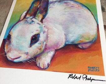 Colorful White Rabbit Bunny Art Print by Artist Robert Phelps-rabbit art, bunny art, gift for rabbit lover, rabbit art print, cute bunny art