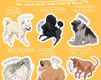 Hello!Dog Stickers 2in