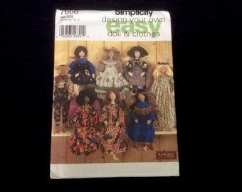 7668 Simplicity Design Your Own Doll & Clothes by Elaine Heigl Designs 1997