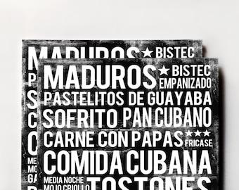 Cuban Food Poster - Cuba Poster - Black - Word Art - Food Art Print
