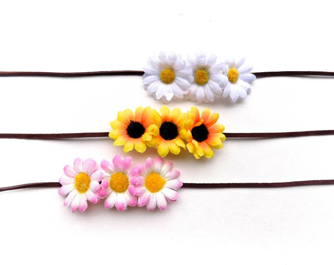 Triple daisy headband or bun wrap, multi-use floral hair accessory with sunflowers or daisies, simple flower crown headband