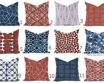 Pillow Covers Custom -Blue Denim Navy Red Rust Burnt White Geometric Traditional Modern- All sizes 16x16  18x18  Throw Toss Accent Pillow