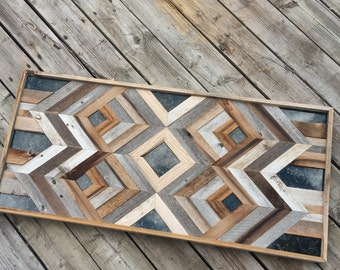 Geometric Reclaimed wood wall art with stone accents / large wood wall art / wood wall art  / reclaimed wood wall art / barn wood wall art