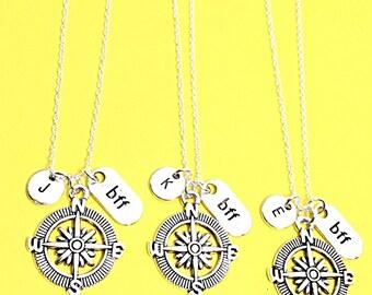 Best Friend necklace- Set of 3, silver compass necklace, compass charm, 3 best friend necklace, distance friend, 3 bff necklace, compass