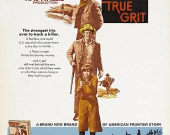 True grit (1969) John Wayne cult western movie poster reprint 19x12.5 inches
