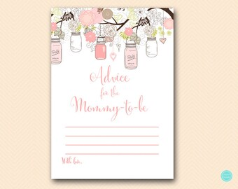 Advice for mommy to be, advice for new mommy, Baby advice cards, Pink Baby Shower, Pink Girl, Pink Mason Jars, Baby Shower Activities TLC459