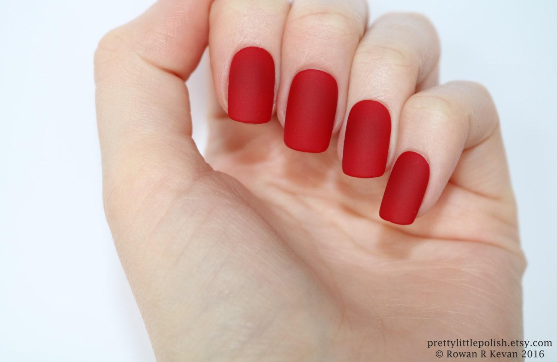 Matte red short square nails, Nail designs, Nail art, Nails ...