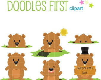 Ground Hog Day Set Clip Art for Scrapbooking Card Making Cupcake Toppers Paper Crafts