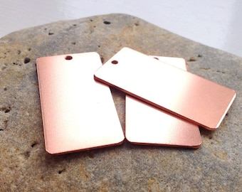 5 UK made 25x50mm  chunky pure copper key ring/pendant blanks 1.2mm thick with holes