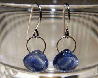 Smooth Kyanite briolette, sterling silver bail, hook style sterling silver earwire