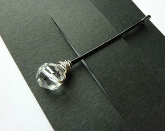 10mm Clear Swarovski Crystal Bobby Pins - Faceted Round - Set of 3