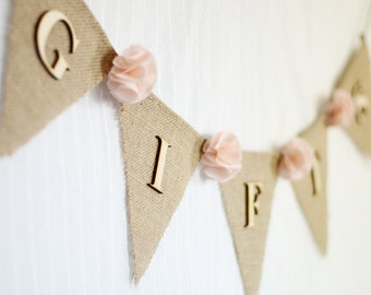 burlap wedding gifts banner / blush pale pink / shabby chic rustic wedding decoration / bridal baby shower / fabric flowers gift table sign