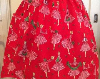 Ready to Ship! Holiday Hostess Apron, Retro Holiday Hostess Apron, Michael Miller Holiday Hostess Apron