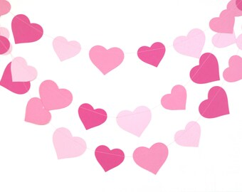 Valentines day garland, Ombre pink hearts garland, baby shower decor, pink nursery decor