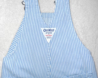 Vintage USA Union Made OSH KOSH B'Gosh Striped Denim Overalls Blue & White Buckled Bib Pant Baby 12Mos