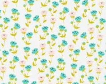Buttercup Turquoise - Vignette Collection -Cloud 9 Fabrics - Organic Quilt fabric by the Half-Yard or Full Yard