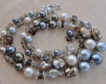 Vintage collar azul... Collar de dos