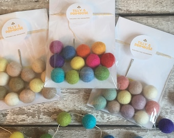 DIY felt ball garland kits - childrens birthday present, birthday party favour, goody bag, gift. Bunting, pom pom, pom poms.