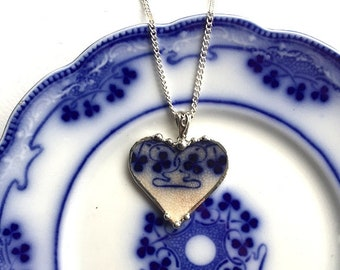 Broken China Jewelry - 1890 recycled upcycled china heart pendant necklace - antique flow blue, clover shamrock china Dishfunctional Designs