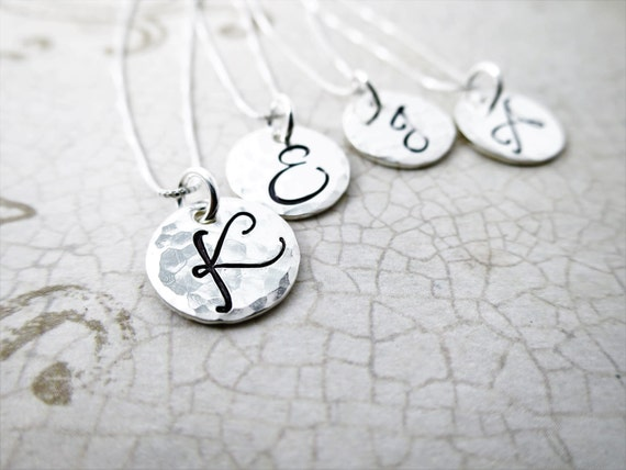 Monogram Necklace   Sterling Silver Initial Jewelry   Custom Jewelry   Personalized Jewelry   Mommy Jewelry   Bridesmaids Gift   Script