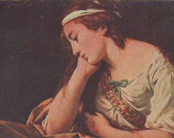 Lady In Quiet Repose Lady Original Antique Postcard