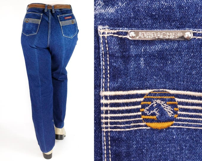 Featured listing image: 80s Vintage Jordache High Waisted Straight Leg Blue Jeans 36x30 Plus Size