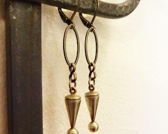 Ball and Cone Earrings, Vintage Solid Brass, Antique Brass Chain, Dangle Earrings, Mod Geometric, Mid Century Modern, Simple Everyday