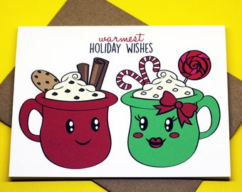 Warmest Holiday Wishes Christmas Cute Hot Cocoa Candy Xmas Holiday Greeting Card