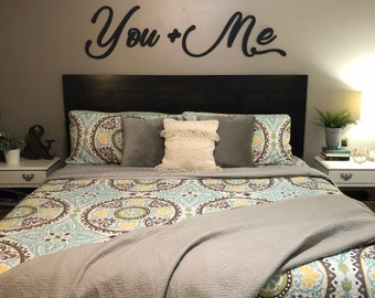 You And Me Wall Decor Wood Cutout, Wooden Word, Master Bedroom Decor