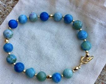 Seaside Blue and Gold Beaded Bracelet