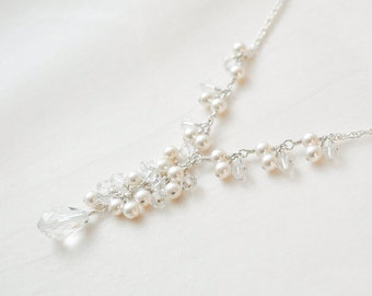 Bridal Y Necklace, Pearl and Crystal Wedding Necklace, Y Style Pearl Necklace, Sterling Silver Necklace