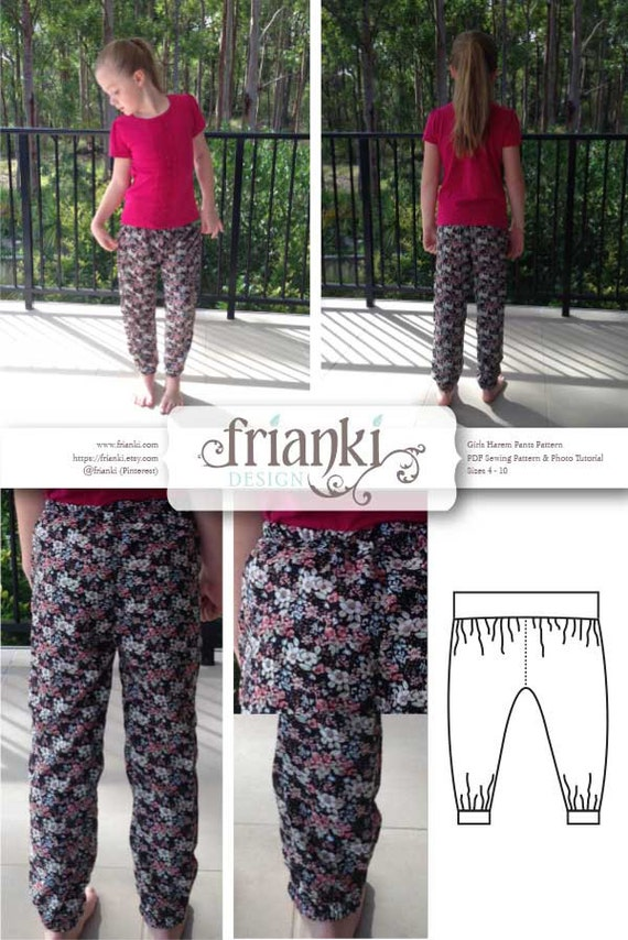 Girls Harem Pants - PDF Sewing Pattern and Photo Tutorial - Sizes 3 ...
