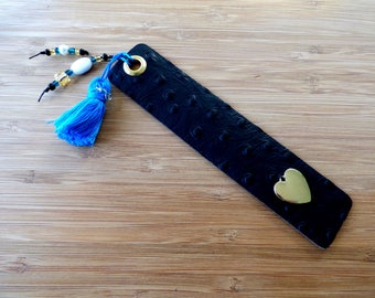 Leather Bookmark with Tassel and Beads and Heart.