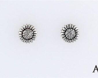 Sterling Silver Sunflower Choice - Charm, Post, Dangle Earrings