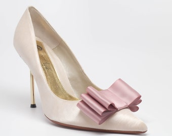 Blush Dusty Pink Satin Ribbon Bow Shoe Clips Set Of Two, More Colors Available