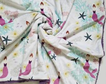 Mermaid Blanket, Baby Girl Blanket, Minky Baby Blanket, Toddler Girl Blanket, Modern Baby Blanket, Baby Gift, Minky Blanket, Toddler Blanket