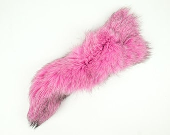 Premium Dyed Fox Tail in Hot Pink (18-05-HP)
