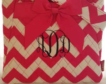 Monogramed Pink/White Quilted Cross-body Hipster, Front and back pockets, adjustable strap