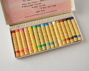 SALE - Was 14.95 - Vintage 1960s Japan Sakura Cray-Pas, Crayons, Oil Color Sticks, Pastels, Set of 16 Colors Unused