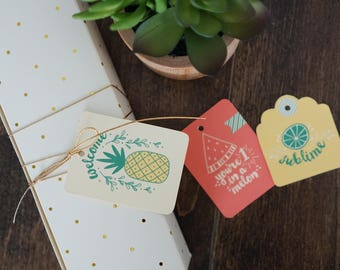 6 different Fruity pun printable gifting tags