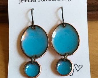 "Torchfired Teal ""Carrie"" Earrings"