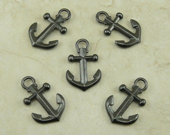 5 Large TierraCast Ship Anchor Pendant Charms * Yacht Boat Nautical Beach - Black Ox Plated Lead Free Pewter - I ship Internationally 2358