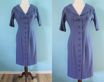 50's Day Dress    Late 50's/Early 60's Blue Wool Button Up Day Dress