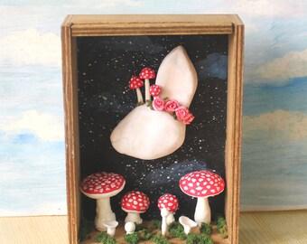 Cute eyeless rabbit with mushrooms wooden box art