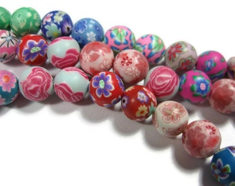8mm Round Polymer Clay Beads Assorted Variety 50 pieces